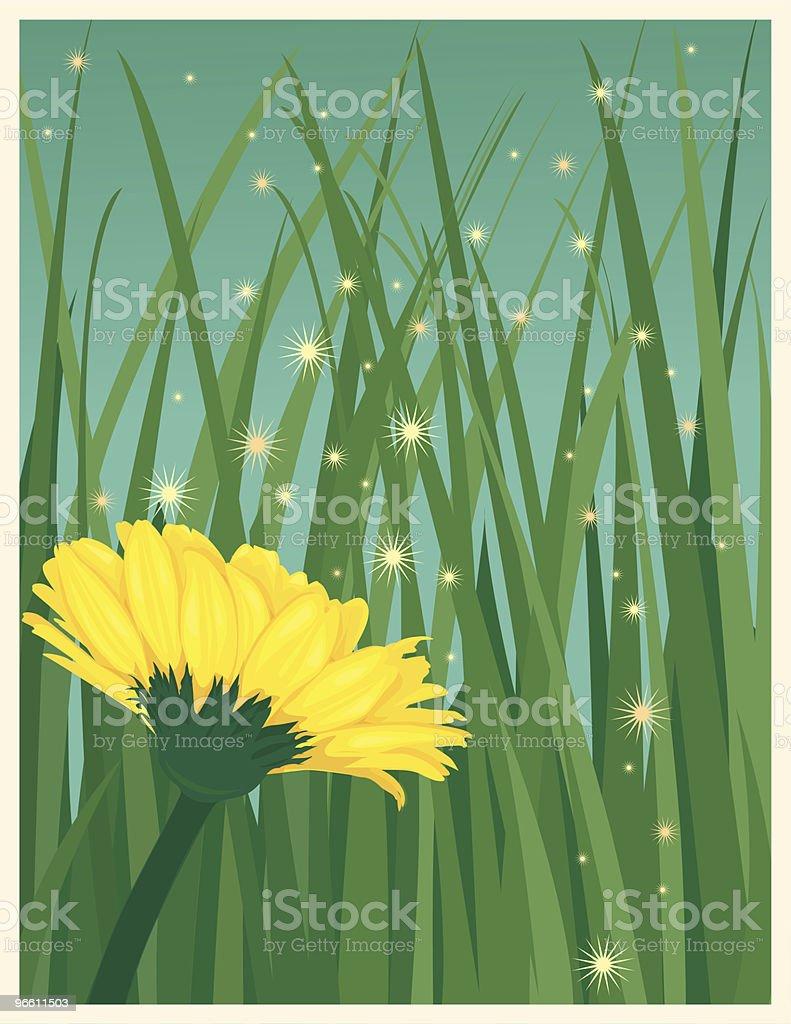 Expansão do pólen de flores com o vento. - Royalty-free Amarelo arte vetorial
