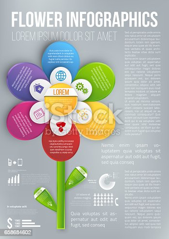 Flower style infographic 6 colored chart, options or menu, vector page template for workflow layouts, presentation and web design