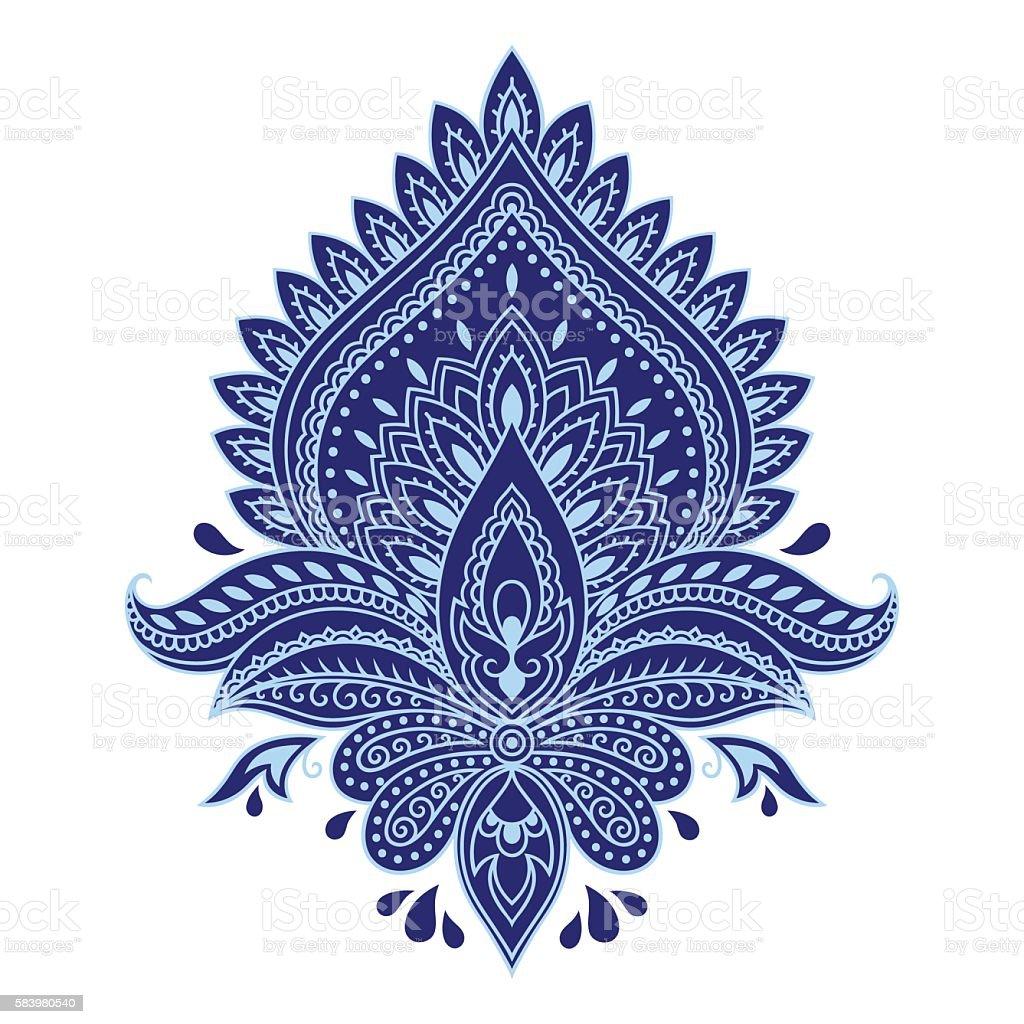 Flower template in Indian style. Ethnic  floral paisley Lotus. Boho. - ilustração de arte em vetor