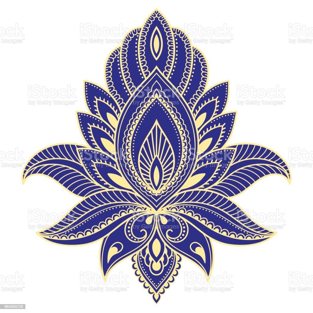 Modelo de flor em estilo indiano. Étnico floral paisley - Lotus. Estilo de Mehndi. Boho. Teste padrão decorativo em estilo oriental. - ilustração de arte em vetor