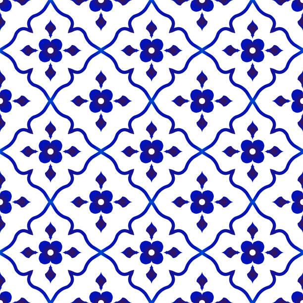 ilustrações de stock, clip art, desenhos animados e ícones de flower tile pattern - mosaicos flores