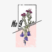 Flower. Typography graphic print, fashion drawing for t-shirts.Vector Illustration in modern style for clothes.