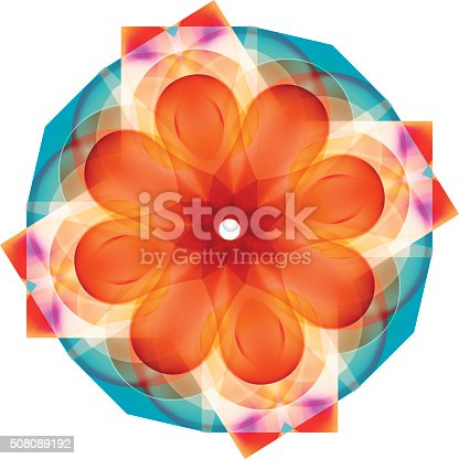 Vector flower with colored gradients.