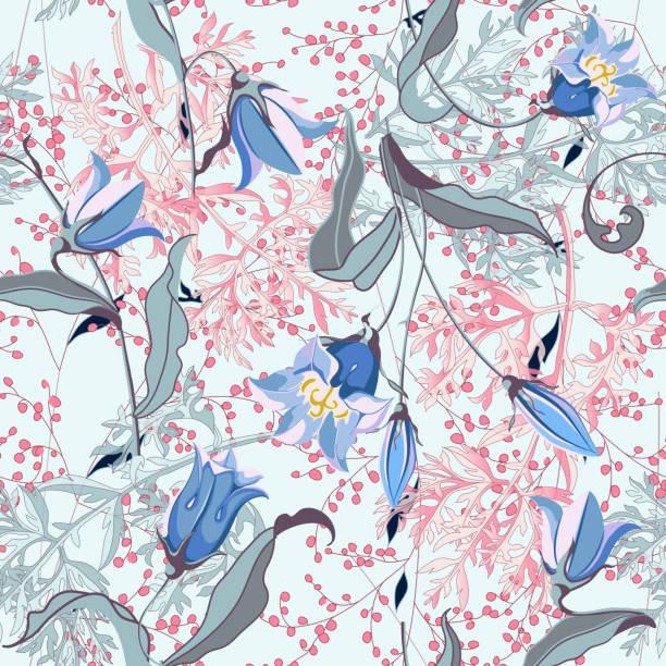 blumenvektordarstellung mit wildblumen und pflanzen, nahtloses muster. - kräutermischung stock-grafiken, -clipart, -cartoons und -symbole