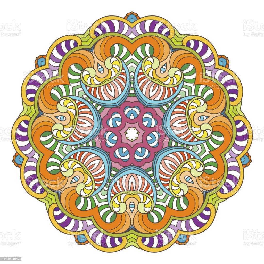 Flower Vector Mandala Oriental Circle Pattern Coloring Illustration Royalty Free