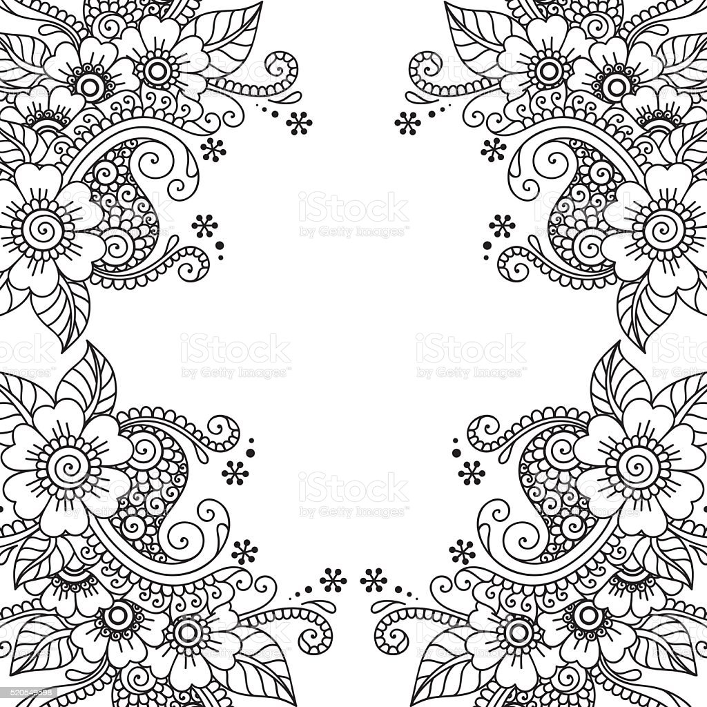 Blume Vektor Ornament Rahmen Stock Vektor Art und mehr Bilder von ...