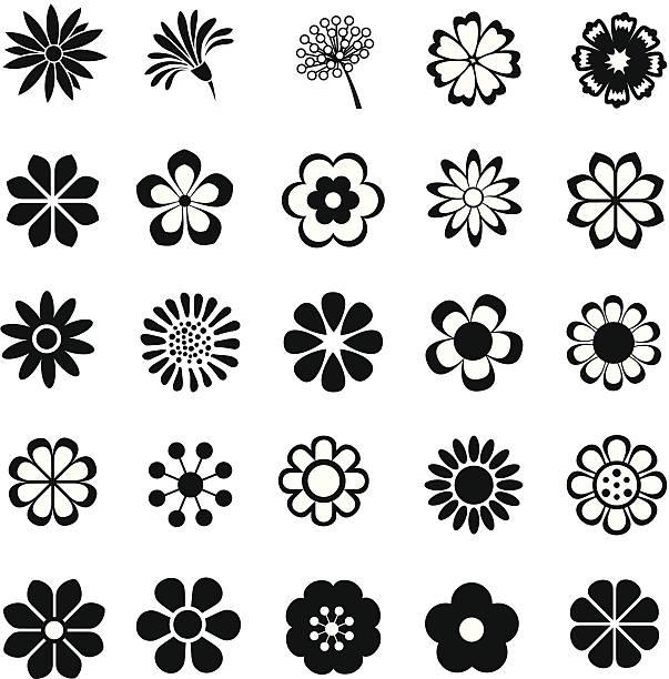 Set Of Black Flower Design Elements Stock Vector: Best Flower Head Illustrations, Royalty-Free Vector