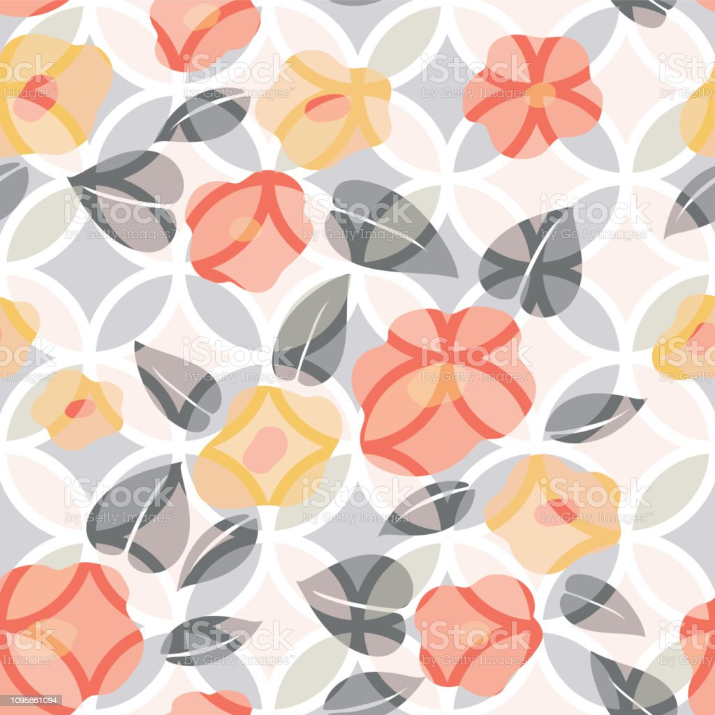 Flower Vector With Japanese Pattern Floral Background Template