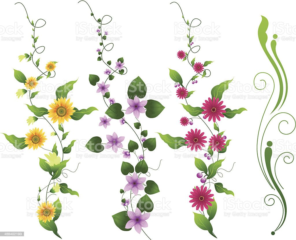 Flower Vine Stock Vector Art More Images Of Backgrounds 455402193