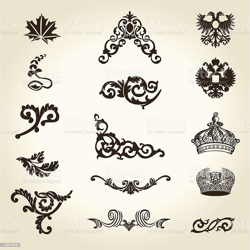 Fleur Des Elements De Design Vintage Couronne Cliparts Vectoriels