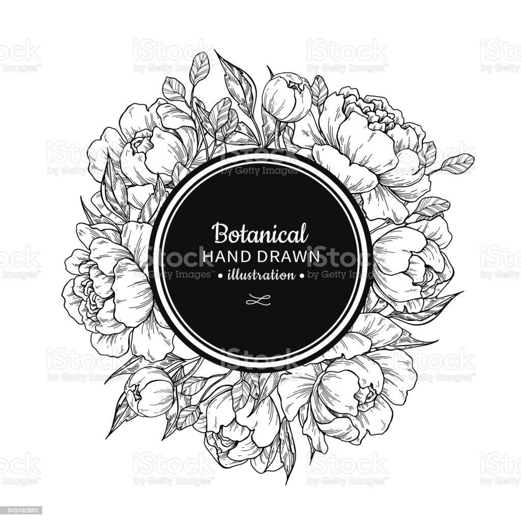 Image De Vecteur Vintage Fleur Dessin Pivoine Rose Feuilles