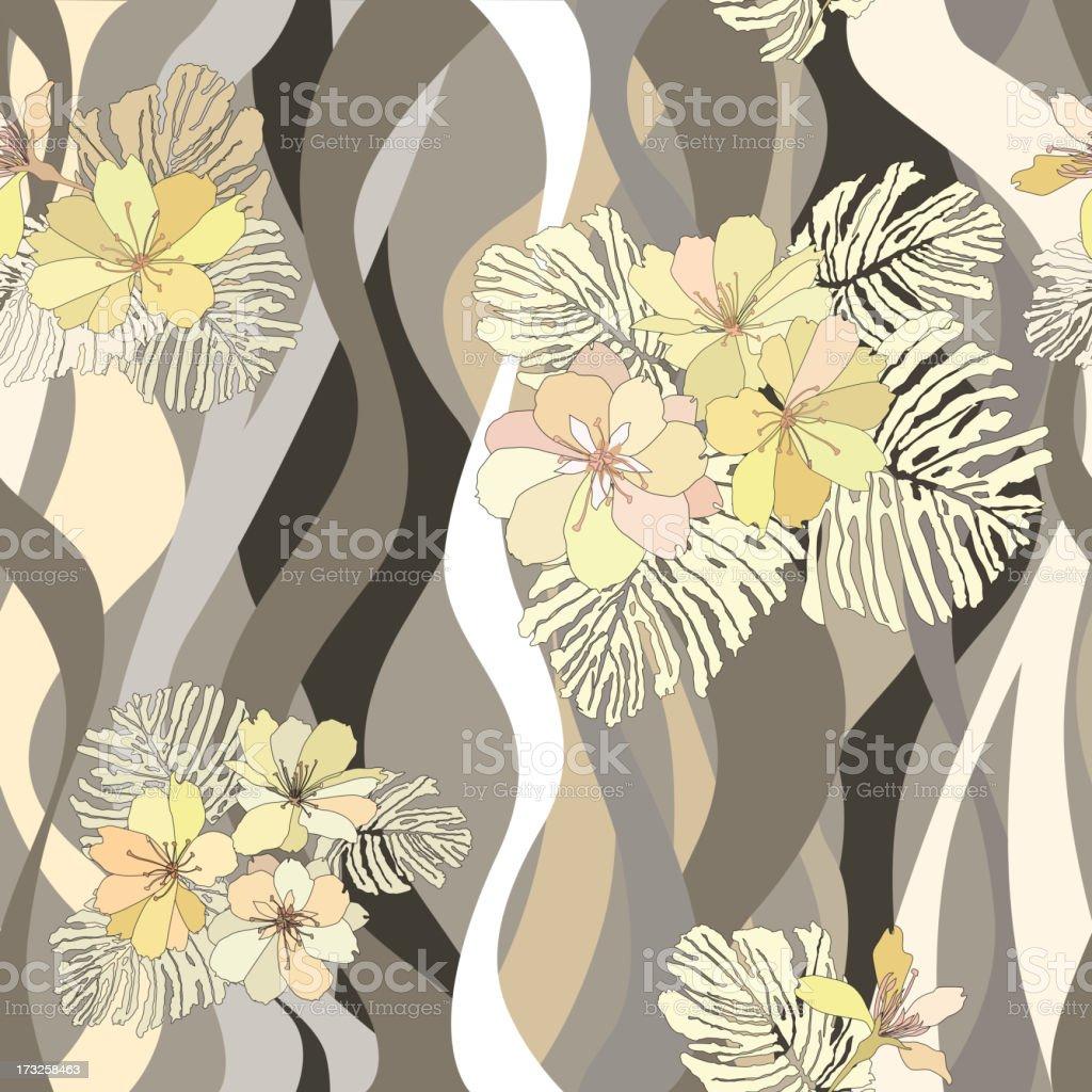 flower wavy pattern in 1970s style. royalty-free stock vector art