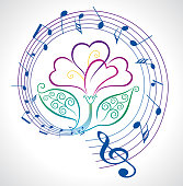 Vector illustration of a beautiful and colorful Flower With Musical Notes and violet Petals