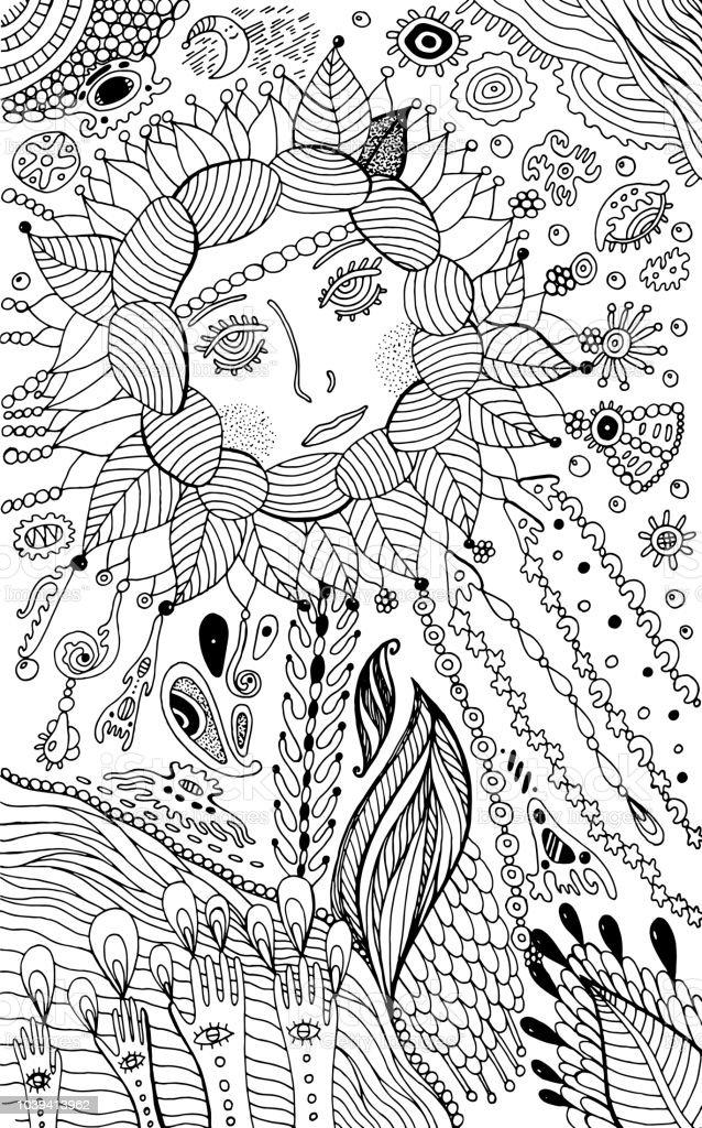 Ilustración de Mujer De Flores Página Para Colorear Para Adultos ...
