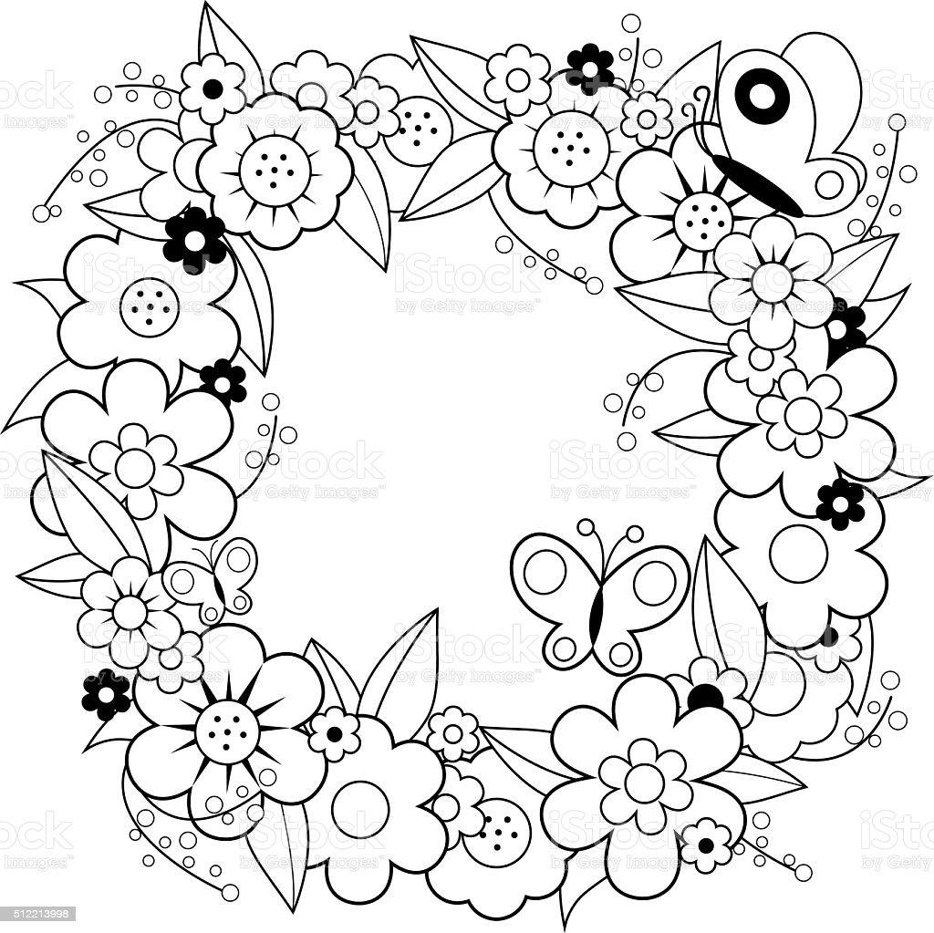 Coloriage Fleur Edelweiss.Page De Livre De Coloriage Avec Couronne De Fleurs Vecteurs Libres