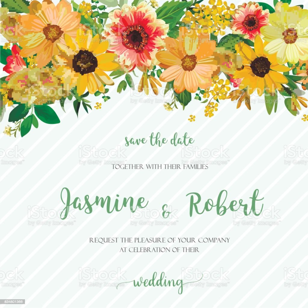 Flower Wreath composition floral frame of various yellow, Dahlia Sunflower, cosmos, Eucalyptus Leaves. Beautiful vector illustration square Watercolor design invitation card on blue stripe background.