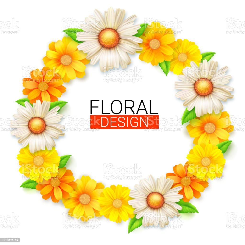 flower wreath of spring wildflowers summer background for