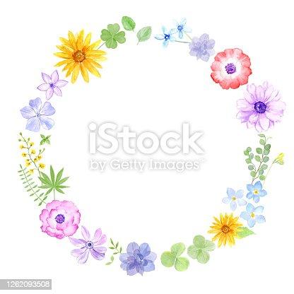 istock Flower wreath painted in watercolor. 1262093508