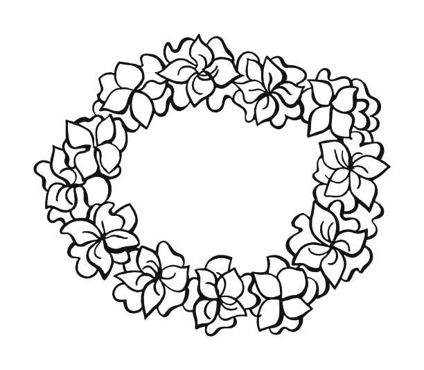 flower wreath - hawaiian lei stock illustrations, clip art, cartoons, & icons