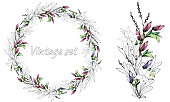 Flower wreath. Vintage style. Wedding wreath of delicate flowers and leaves. Spring set. Vector brush.