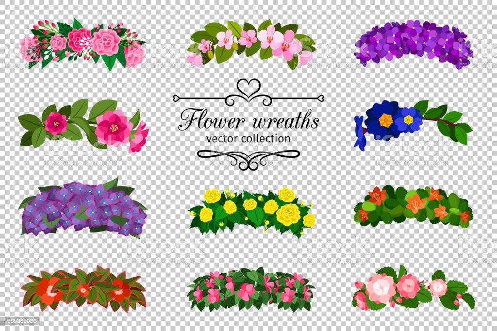 Jeu de couronnes de fleurs - clipart vectoriel de Accessoire libre de droits