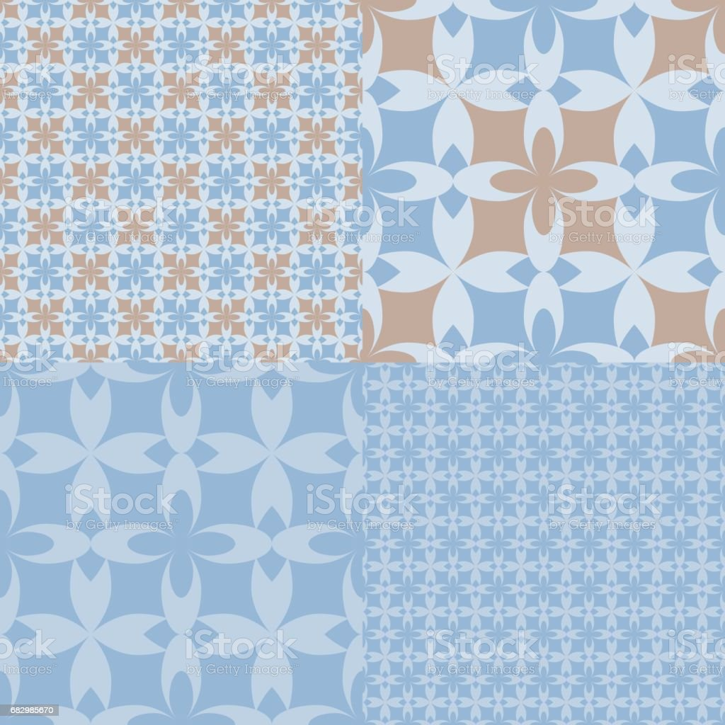 Flower_power_tile_pattern_Blue&Taupe_4up flowerpowertilepatternbluetaupe4up - arte vetorial de stock e mais imagens de abstrato royalty-free