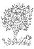 Flowering tree in doodle style.
