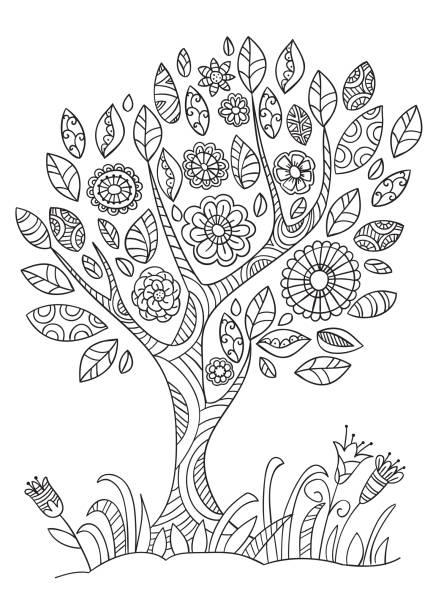 낙서 스타일에 꽃 나무입니다. - 색칠하기 stock illustrations