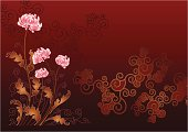 Illustration in east style representing decorative flowerings chrysanthemums