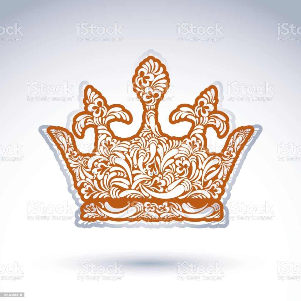 Flower-patterned decorative crown, art royal symbol. King coronet filled with abstract natural pattern, imperial theme vector design element. royalty-free flowerpatterned decorative crown art royal symbol king coronet filled with abstract natural pattern imperial theme vector design element stock vector art & more images of abstract