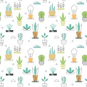 Flowerpot seamless pattern with plants icons