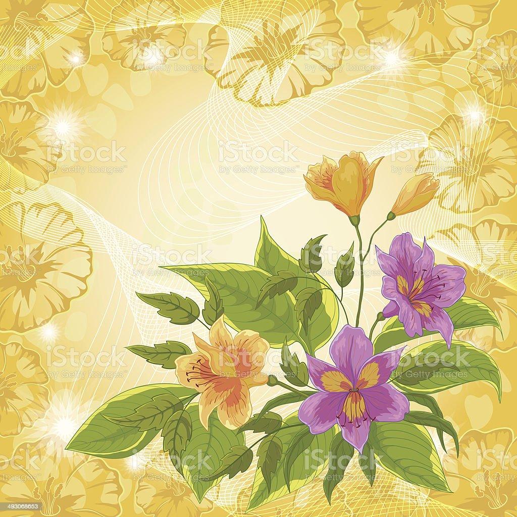 Flores alstroemeria y ipomoea contornos - ilustración de arte vectorial