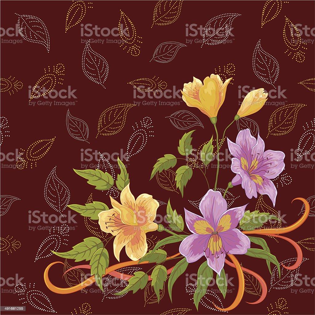 Flores alstroemeria y leafs contornos - ilustración de arte vectorial