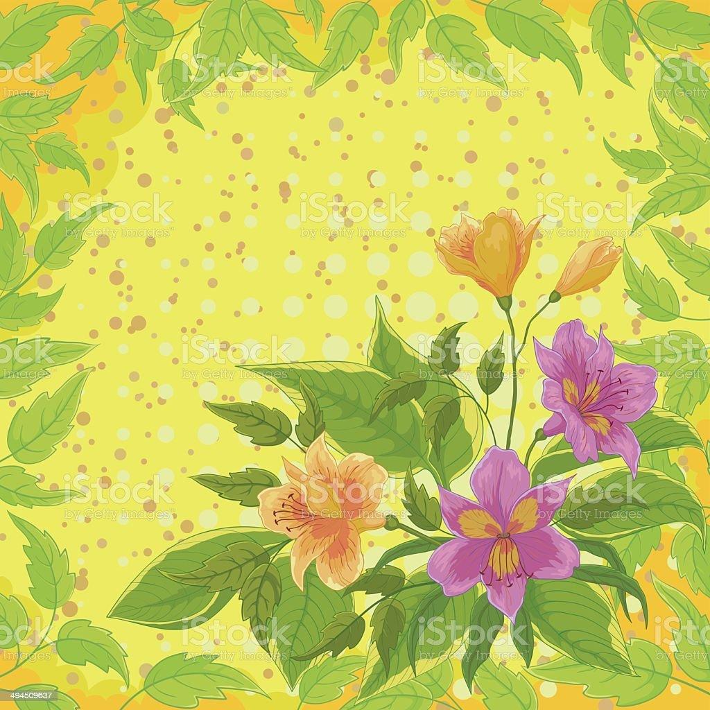 Flores alstroemeria y leafs - ilustración de arte vectorial