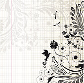 Beautiful flowers and fantastic curls  with birds and dragonflies on the notebook into the cell. The original background for your design.