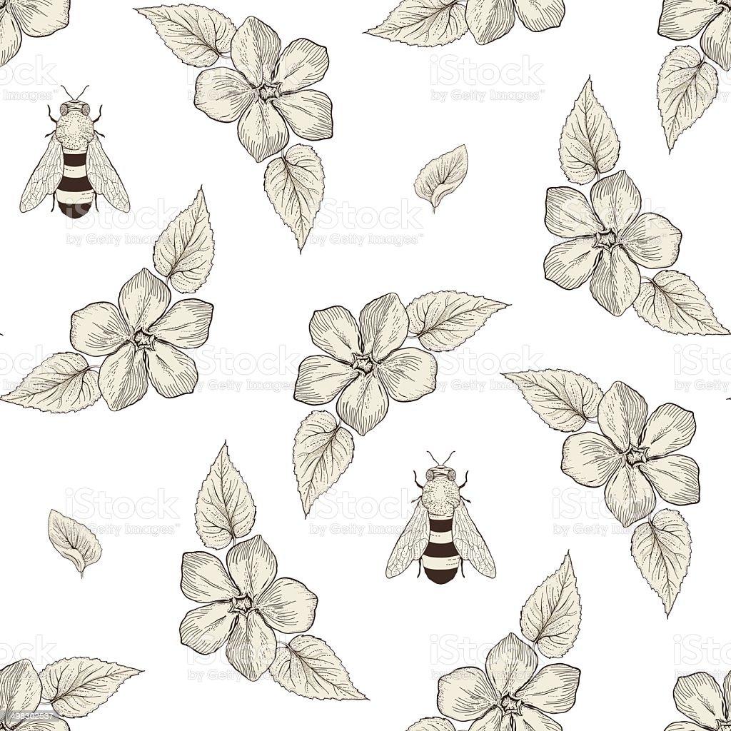 Ilustración de Flores Y Abejas Patrón Sin Costuras Estilo Vintage ...