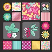 Flowers and berries, stars and dots. Design collection