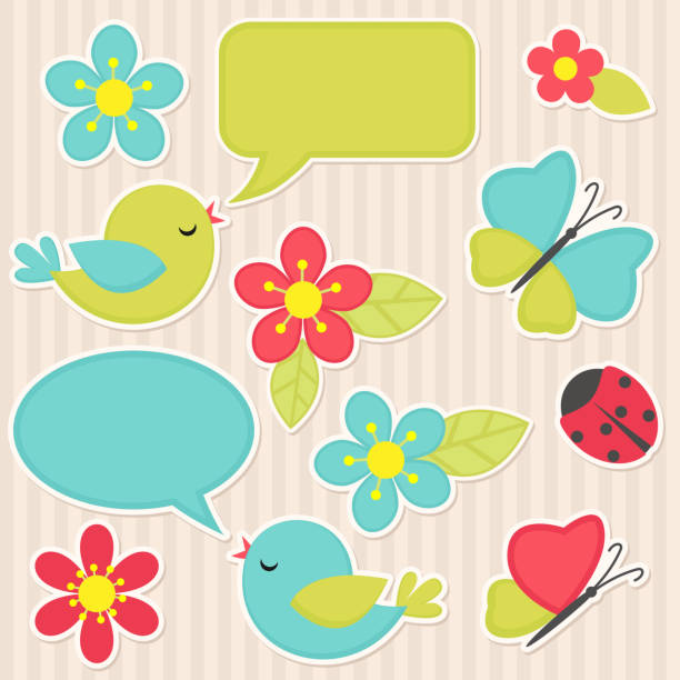 Flowers and birds Vector scrapbook elements - flowers and birds photo album stock illustrations