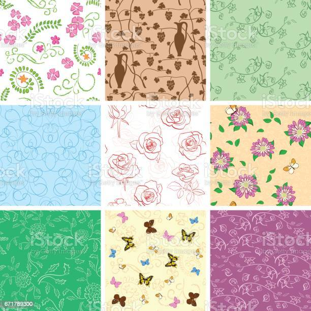 Flowers and butterflies on seamless patterns set of vector vector id671789300?b=1&k=6&m=671789300&s=612x612&h=rp3rmnrits1w34s n1thfj cx5eqcofzrskyo8d0jpw=