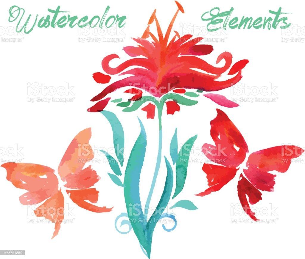 Flowers and butterflies vector flowers and butterflies vector – cliparts vectoriels et plus d'images de aquarelle libre de droits