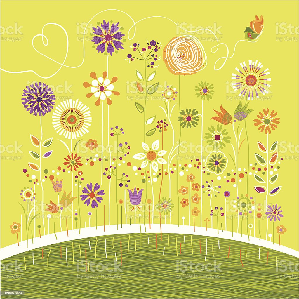Flowers and Butterfly royalty-free stock vector art