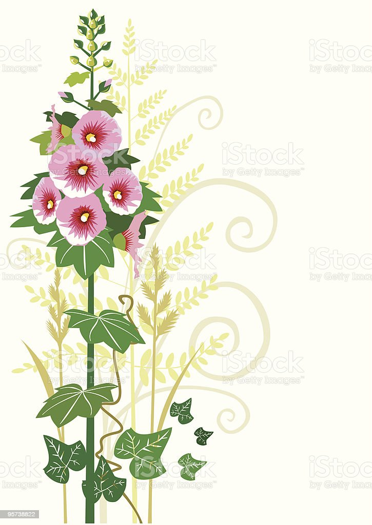 Flowers and decorative ornament vector art illustration