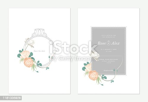Flowers and foliage wedding invitation card template design, wedding ring decorated with roses and leaves on white