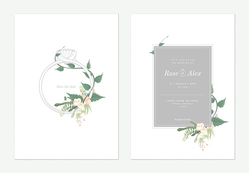 Flowers and foliage wedding invitation card template design, wedding ring decorated with white Japanese quince flowers and leaves on white