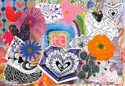 istock Flowers and hearts collage 1093160982