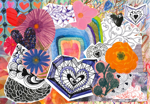 Collage of doodle hearts and flowers