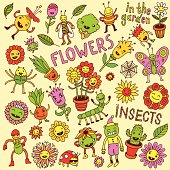 Flowers and insects. Doodle set. Vector illustration.