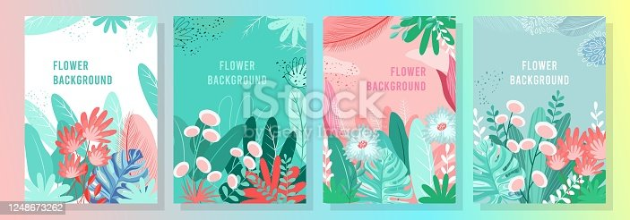 Vector set flower background, Nature background, banner, cover, templates, posters.