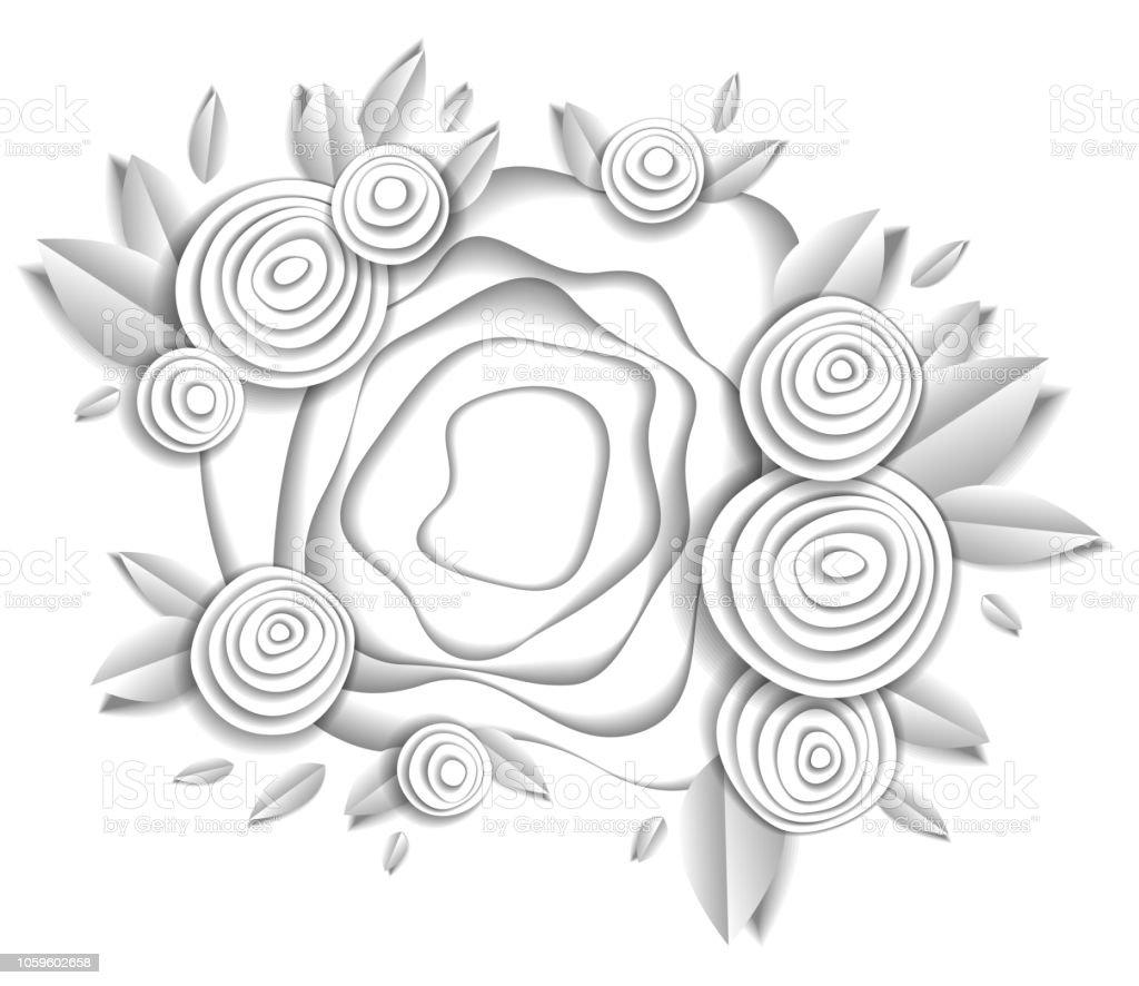 Çiçek ve yaprakları güzel tasarımı ile yapılan tarafsız kağıt, vektör çizim kağıt kesim tarzı beyaz. Düğün davetiyesi veya romantik tebrik kartı. vektör sanat illüstrasyonu