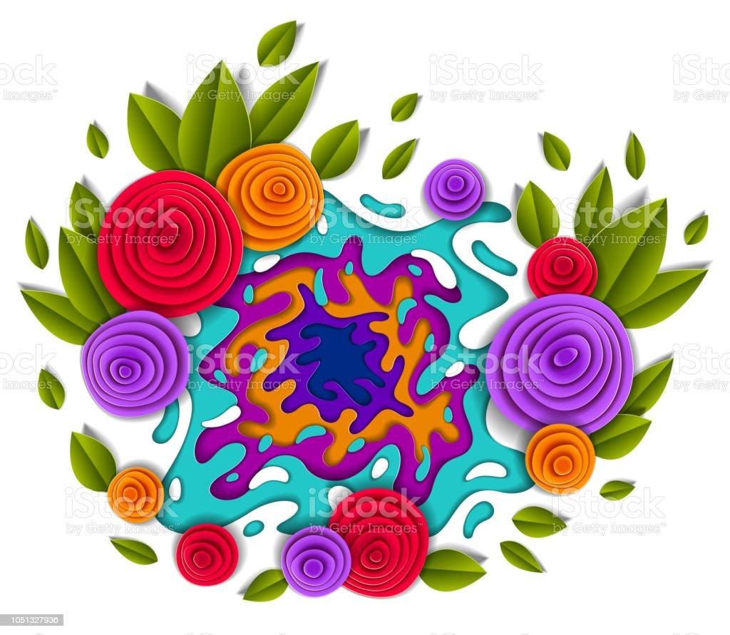 Çiçekler ve güzel tasarım, stil kesilmiş kağıt çizimde vektör bırakır. Düğün davetiyesi veya romantik tebrik kartı. vektör sanat illüstrasyonu